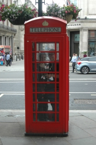 Me and best buddy Katie in a telephone booth at Trafalgar Square, London, England, UK