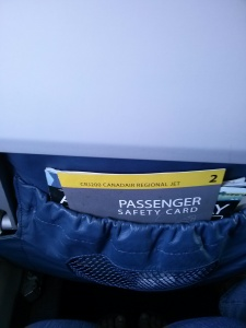 The seatback information card on my flight to Chicago, Wichita, KS
