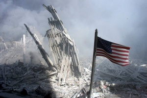 Am American flag flies near the base of the destroyed World Trade Center in New York, September 11,