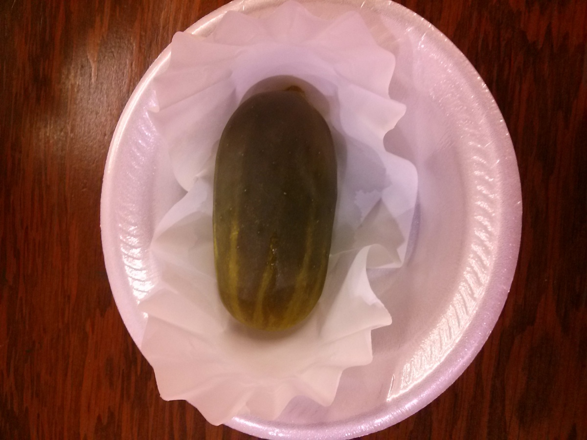 A pickle in a bowl on a table at Judgement House, NewSpring Church, Wichita, KS