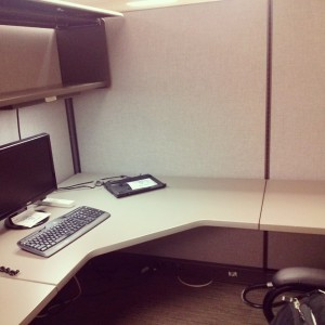 My faithful little cubicle at the Epic Center, Wichita, KS