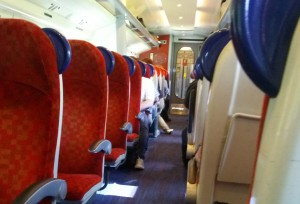 Aisle of the train from Manchester to Carlisle