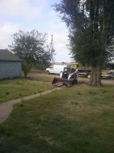 Tearing up the sidewalk at Safe Haven Farm, Haven, KS