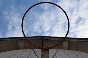 Basketball hoop on the garage at Safe Haven Farm, Haven, KS